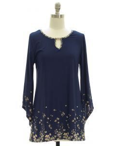 Bell Sleeve Jewel Yoke Top - Navy