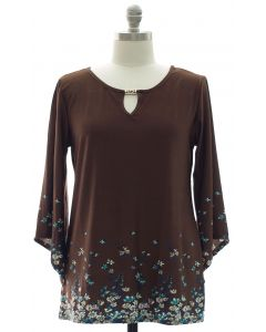 Plus Bell Sleeve Jewel Yoke Top - Brown
