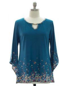 Plus Bell Sleeve Jewel Yoke Top - Turquoise