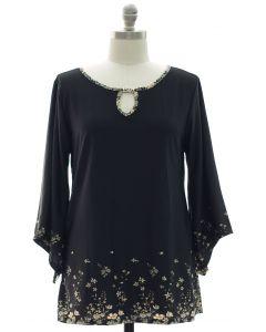 Plus Bell Sleeve Jewel Yoke Top - Black