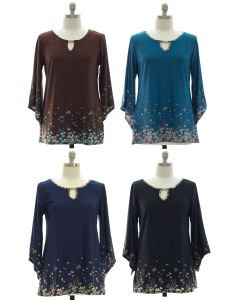 Plus Bell Sleeve Jewel Yoke Top - Assorted