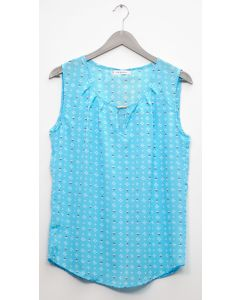 Jewel Keyhole Sleeveless Blouse - Sky Blue