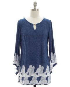 Bell Sleeve Border Print Jewel Yoke Top - Blue