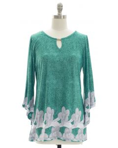 Bell Sleeve Border Print Jewel Yoke Top - Teal