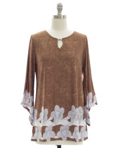 Bell Sleeve Border Print Jewel Yoke Top - Brown