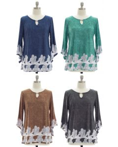 Plus Bell Sleeve Border Print Jewel Top - Assorted