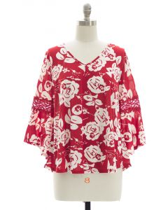 Crochet Bell Sleeve Top - Red