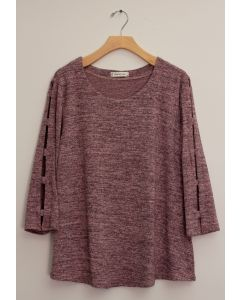 Lattice Sleeve Hacci Top - Mauve