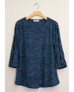 Lattice Sleeve Hacci Top - Blue