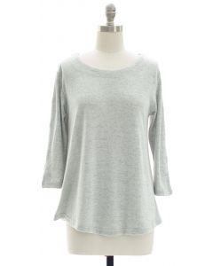 Lattice Sleeve Hacci Top - Grey