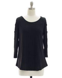 Lattice Sleeve Hacci Top - Black
