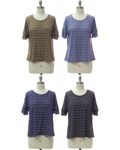 Pane Butterfly Sleeve Top - Assorted