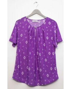 Jewel Yoke Short Sleeve Top - Purple