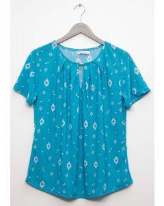 Jewel Yoke Short Sleeve Top - Aqua