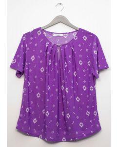 Plus Jewel Yoke Short Sleeve Top - Purple