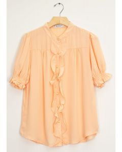Mandarin Collar Ruffle Blouse - Peach