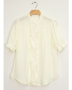Mandarin Collar Ruffle Blouse - White