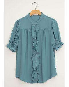Mandarin Collar Ruffle Blouse - Caded Blue