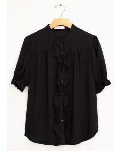 Mandarin Collar Ruffle Blouse - Black