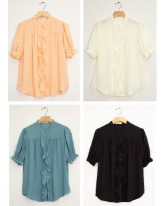 Mandarin Collar Ruffle Blouse - Assorted