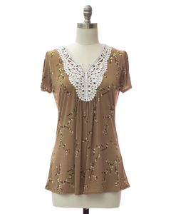 Crochet Neck Printed Top - Taupe