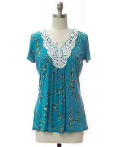 Crochet Neck Printed Top - Turquoise