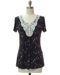 Crochet Neck Printed Top - Black