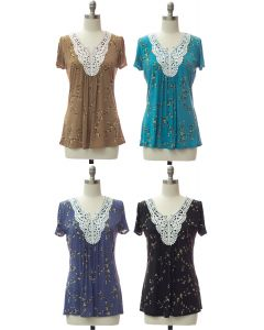 Crochet Neck Printed Top - Assorted