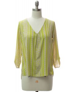 3/4 Sleeve Pleat Front Blouse - Lime