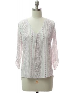 3/4 Sleeve Pleat Front Blouse - White