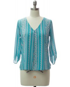 3/4 Sleeve Pleat Front Blouse - Turquoise