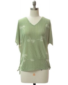 Hem Cinch V Neck Top - Sage