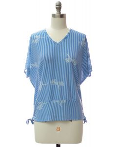 Hem Cinch V Neck Top - Blue