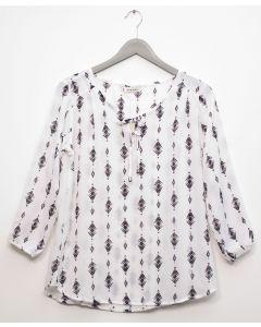 3/4 Sleeve Tassel Front Blouse - White