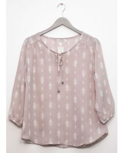 3/4 Sleeve Tassel Front Blouse - Taupe