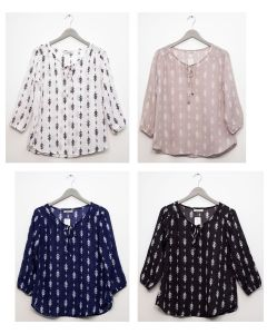 3/4 Sleeve Tassel Front Blouse - Assorted