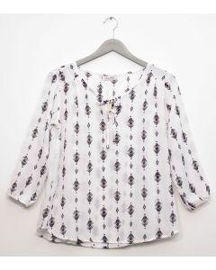 Plus 3/4 Sleeve Tassel Front Blouse  - White