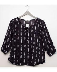 Plus 3/4 Sleeve Tassel Front Blouse  - Black