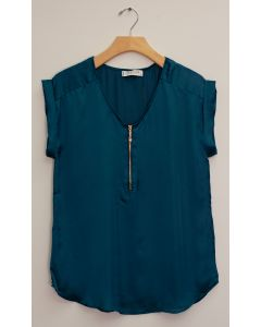 Zipper Front Satin Blouse - Teal