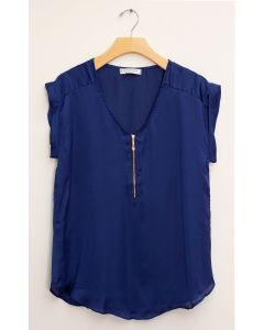 Zipper Front Satin Blouse - Royal Blue
