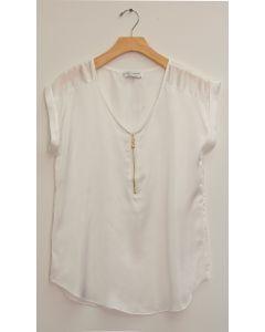 Zipper Front Satin Blouse - White