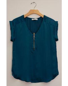Plus Zipper Front Woven Blouse - Teal