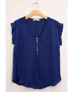 Plus Zipper Front Woven Blouse - Royal Blue