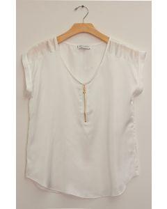 Plus Zipper Front Woven Blouse - White