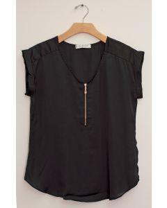 Plus Zipper Front Woven Blouse - Black
