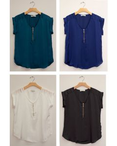 Plus Zipper Front Woven Blouse - Assorted