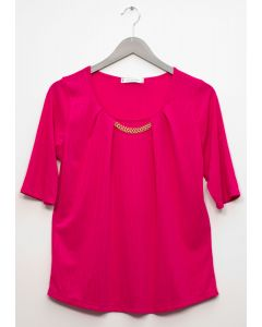Short Sleeve Chain Front Blouse - Fuschia