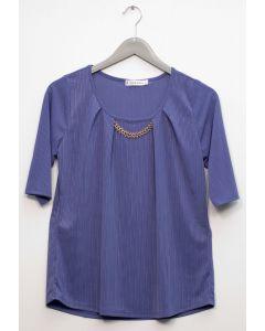 Short Sleeve Chain Front Blouse - Violet