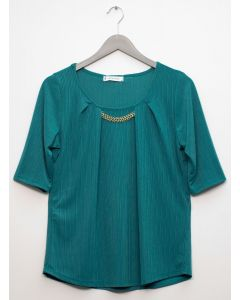 Short Sleeve Chain Front Blouse - Emerald