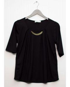Short Sleeve Chain Front Blouse - Black